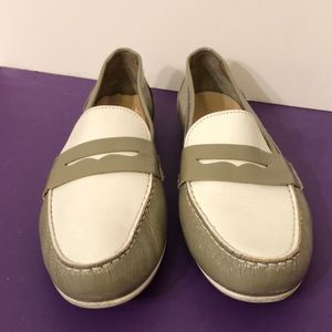 Cole Haan 8.5 tan and white patent leather loafers